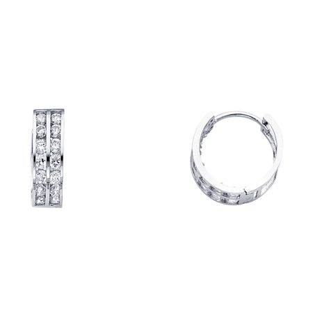Half 2 Channel (Two Row Channel SetRound CZ Simuated Diamonds Huggies 5mm Hoop 14k White Gold Earrings 1/2