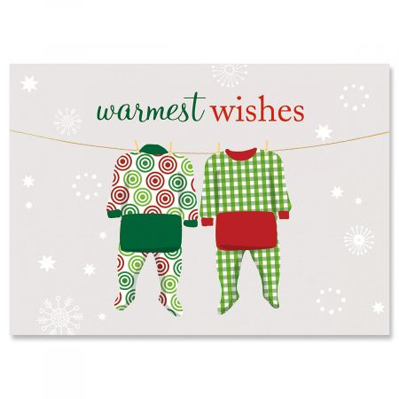 Pajama Family of Two Christmas Greeting Cards- Set of 18 Holiday Greeting Cards