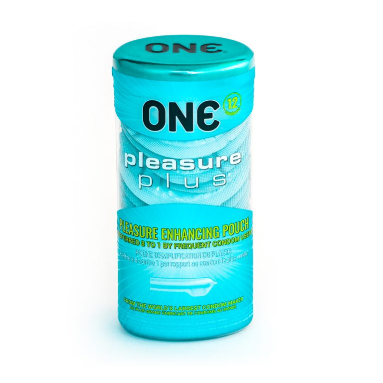 ONE Pleasure Plus + Brass Pocket Case, Ultra Sensitive Lubricated Latex-12 Count (Retail Packaging)
