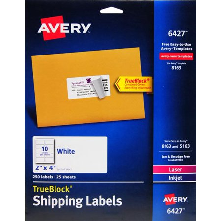 Avery White Shipping Labels for Inkjet/Laserjet Printers, 2