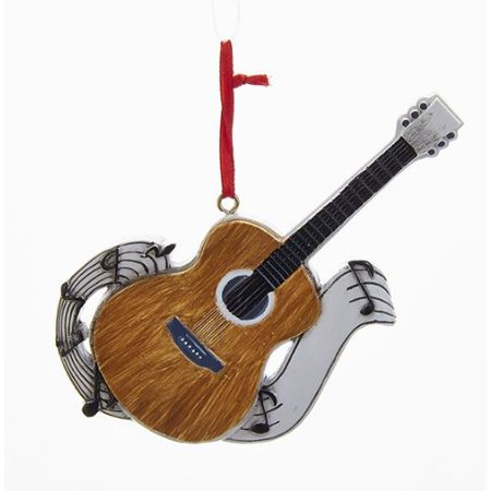 Acoustic Guitar with Music Notes Christmas Tree Ornament Decoration W8235 New - Guitar Decorations
