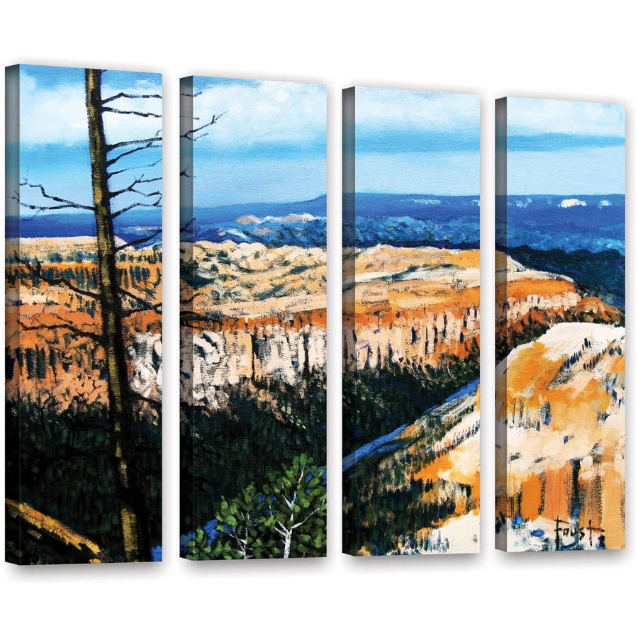 24 x 32 ArtWall Gene Fousts Serene Mountain Tops 2 Piece Floater Framed Canvas Set