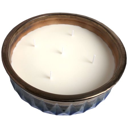 Better Homes & Gardens Large Blue Glazed Ceramic Citronella Outdoor Candle with Lemongrass Essential Oil, 70.55oz