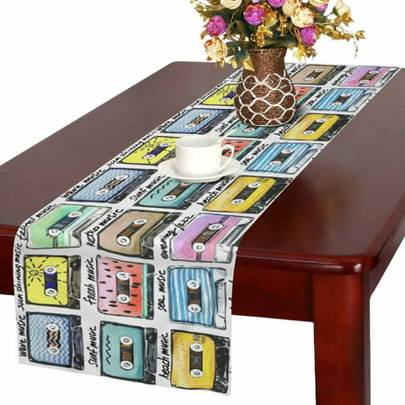 MKHERT Funny Cartoon Cassette Tape Table Runner Home Decor for Home Kitchen Wedding Party Banquet Decoration 16x72 Inch - Cassette Tape Decorations