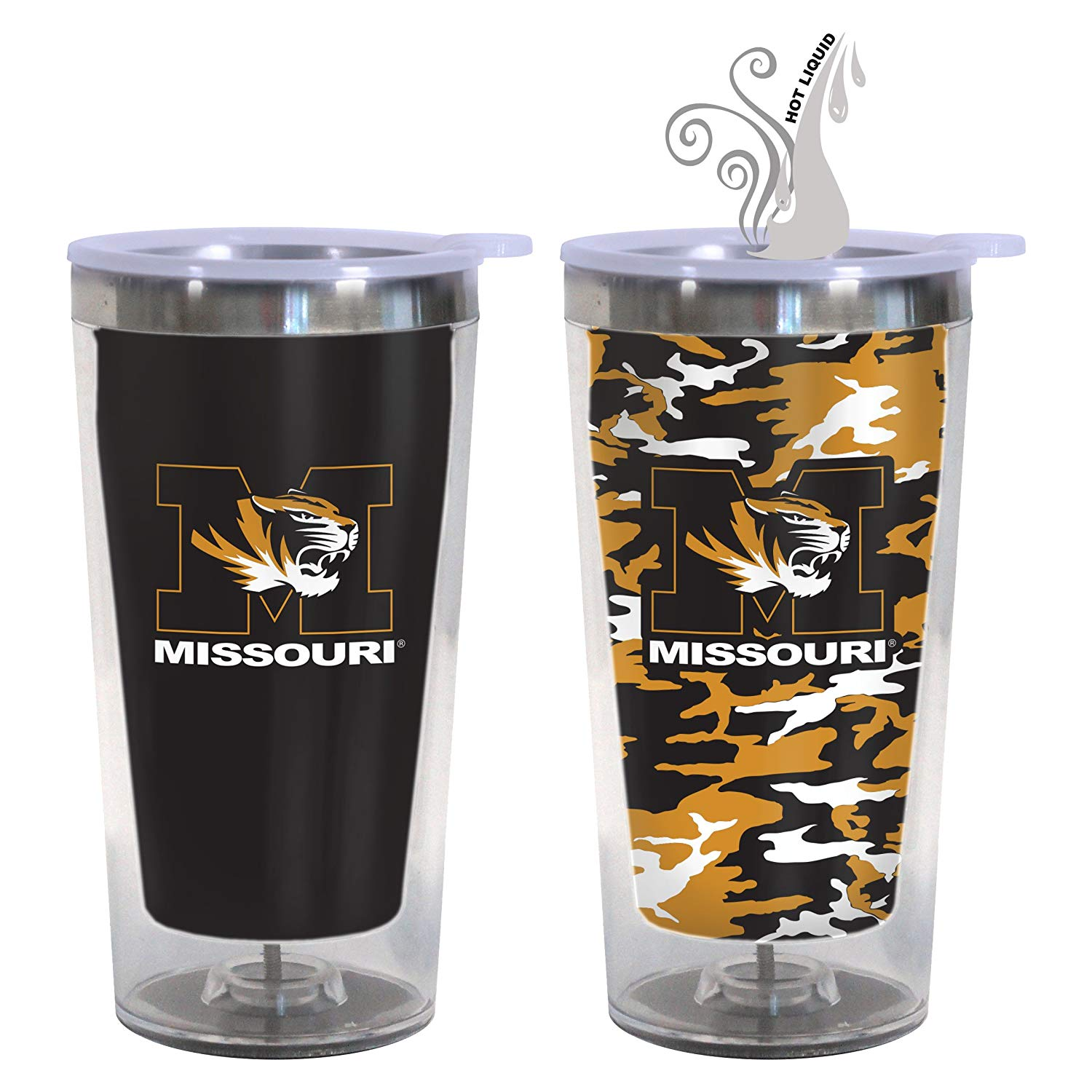 Boelter NCAA 16 Ounce Color Changing Camo Travel Tumbler 2 Pack with Lids