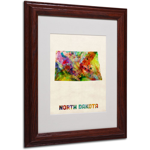 "Trademark Fine Art ""North Dakota Map"" Matted Framed Art by Michael Tompsett, Wood Frame"