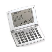 Satin Silver-Tone Finish World Time Alarm Clock And Calculator Designer Jewelry by Sweet Pea