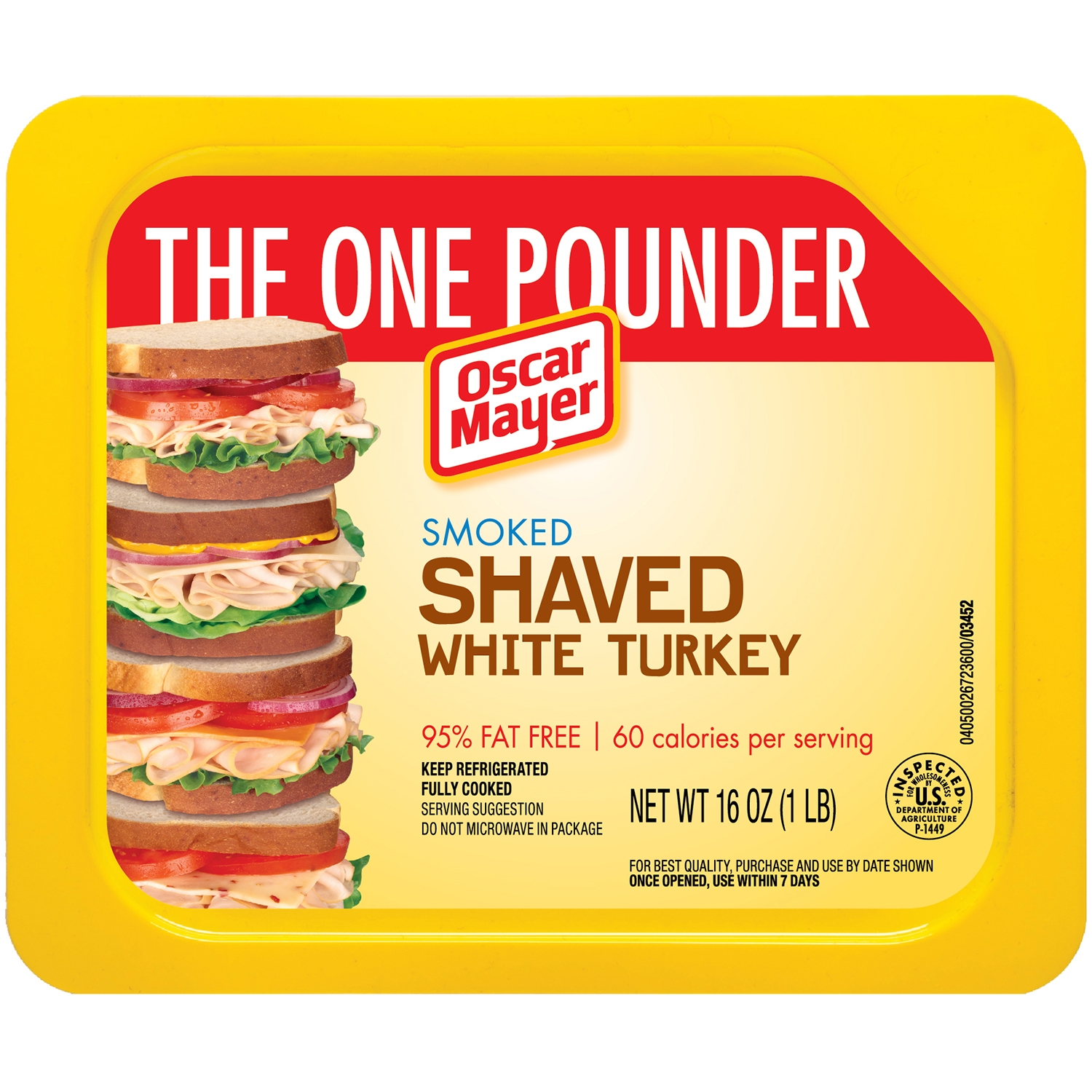 Oscar Mayer Smoked Shaved White Turkey, 16 oz