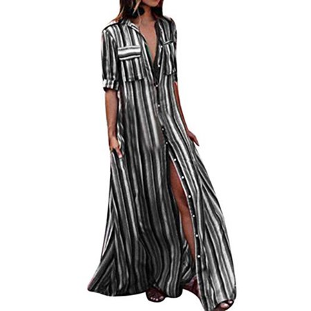 LELINTA Women's Fashion Boho Maxi Dress Button Down Black Stripes Long Sleeve Blouse Dresses with Pockets