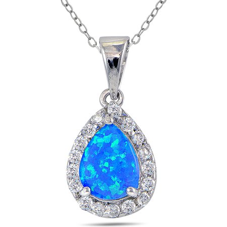 Created Blue Opal and CZ Sterling Silver Teardrop Necklace, 18