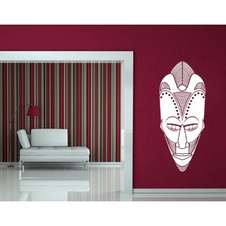 - African Mask Wall Decal - Wall Sticker, Vinyl Wall Art, Home Decor, Wall Mural - 3711 - Pink, 32in x 79in