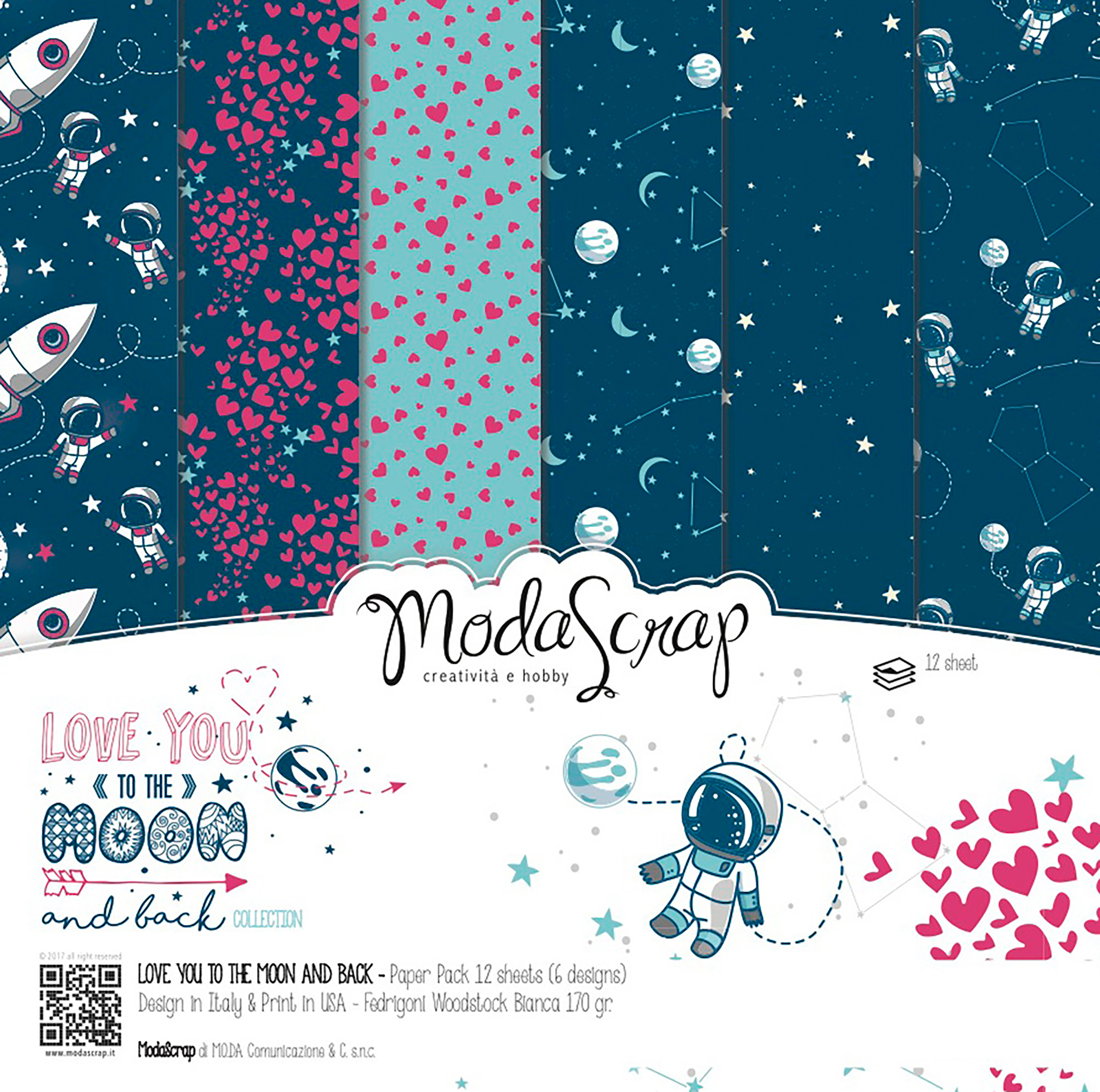 """Elizabeth Craft ModaScrap Paper Pack 12""""X12"""" 12/Pkg-Love You To The Moon And Back"""