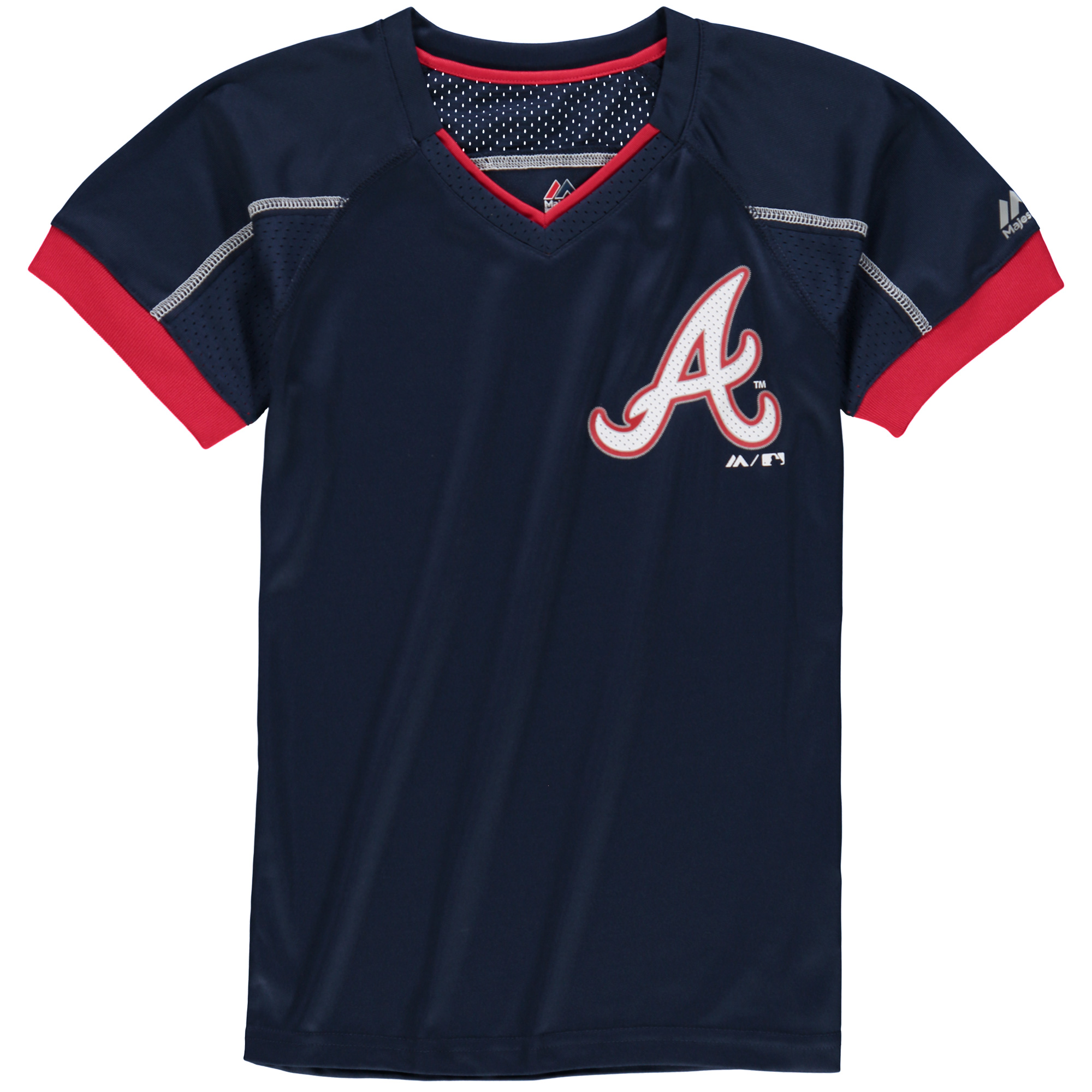 Atlanta Braves Majestic Youth Emergence V-Neck T-Shirt - Navy