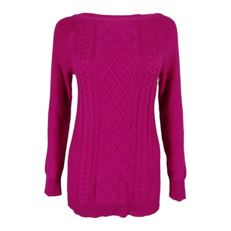 American Living Women's Cable Lattice Crewneck Sweater