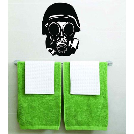 Do It Yourself Wall Decal Sticker Gas Mask Biohazard Halloween Party Decoration Kids Boy Girl Teen Dorm Room Children 20x14 - Scary Halloween Gas Mask