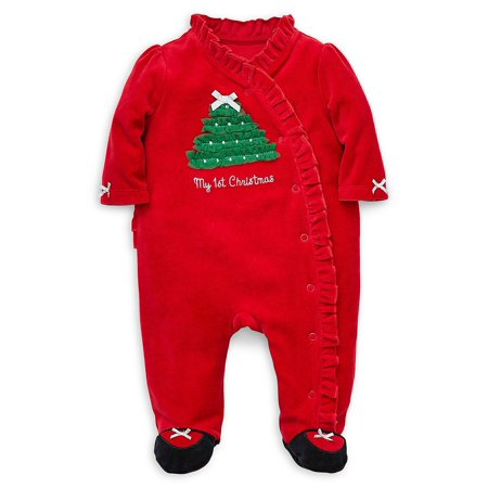 Baby Girl's Holiday Velour Footie