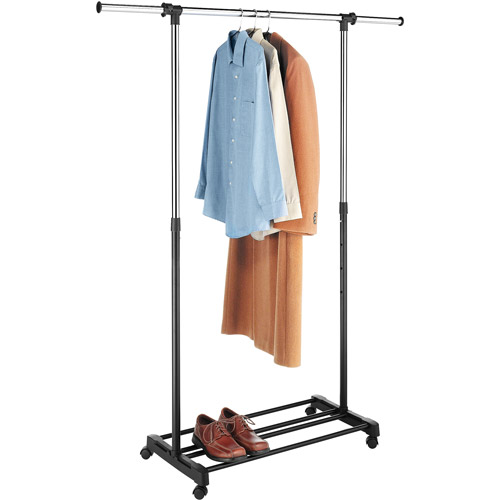 Whitmor Deluxe Adjustable Garment Rack, Chrome/Black
