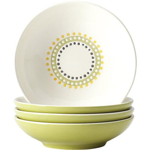 Rachael Ray Dinnerware Circles and Dots 4-Piece Stoneware Fruit Bowl Set, Print