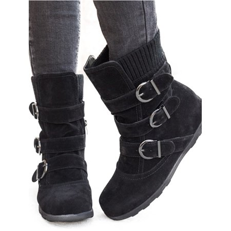 Womens Winter Warm Matte Booties Shoes Buckle Flat Short Ankle Snow Boots Warm Hunting Boots
