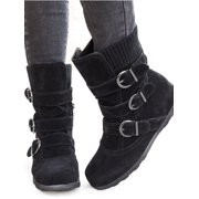 Womens Winter Warm Matte Booties Shoes Buckle Flat Short Ankle Snow Boots