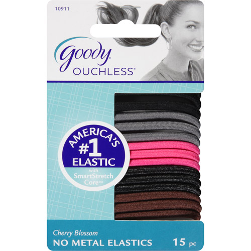 Goody Ouchless No Metal Hair Elastics, Cherry Blossom 10911, 15 count