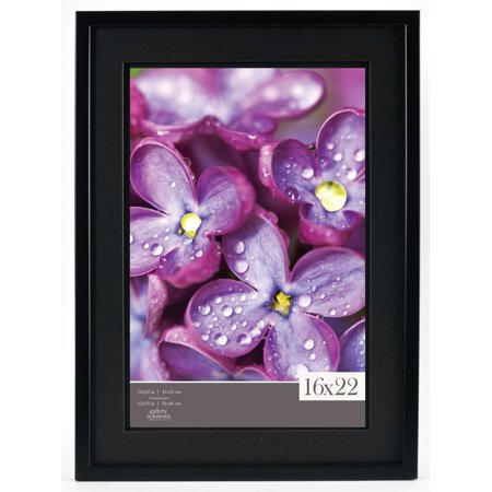 Gallery Solutions 16x22 Black Wood Wall Frame with Double Black Mat ...