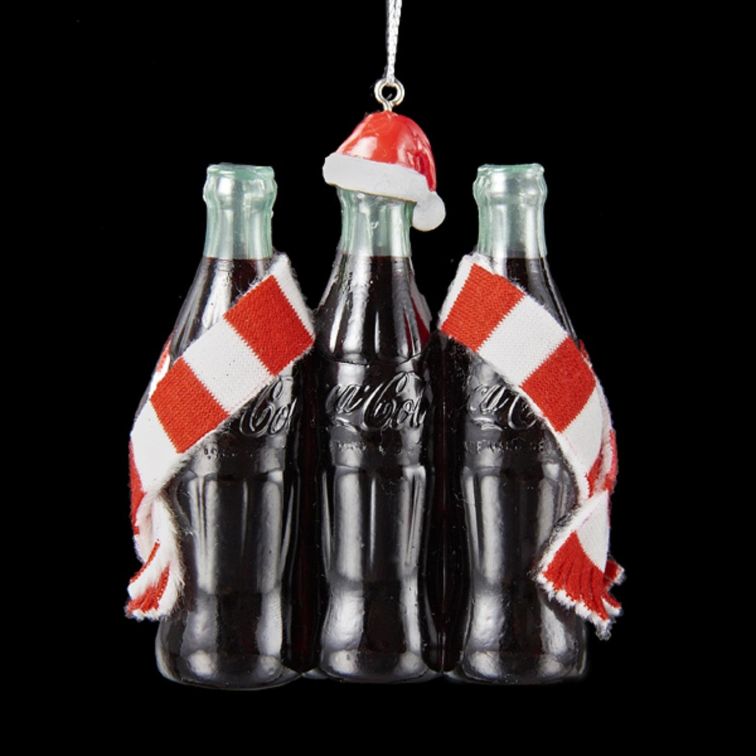"3.75"" Coca-Cola���� 3 Pack Bottles with Santa Hat and Striped Scarf Ornament"