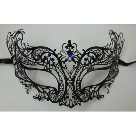 Royal Blue Black Laser Cut Venetian Masquerade Metal Filigree Mask Rhinestones