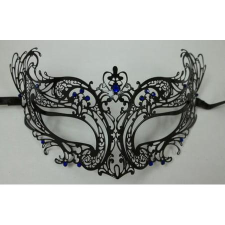Royal Blue Black Laser Cut Venetian Masquerade Metal Filigree Mask Rhinestones