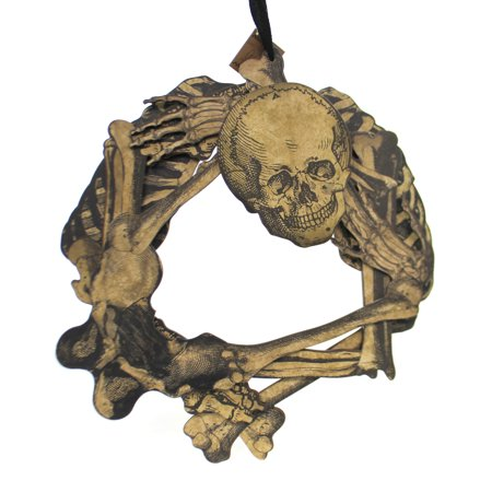 Halloween SKELETON WREATH Wood 3 Dimentional Bones Skull - Note 3 Halloween Commercial