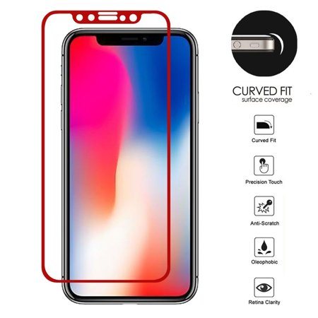 low priced 73ac7 8c2f7 iPhone X XS Glass Screen Protector, by Insten Curved Fit Tempered Glass  Screen Protector Film Cover For Apple iPhone X XS 10 (Precision Touch, ...