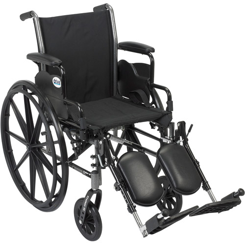 "Drive Medical Cruiser III Light Weight Wheelchair with Flip Back Removable Arms, Desk Arms, Elevating Leg Rests, 18"" Seat"