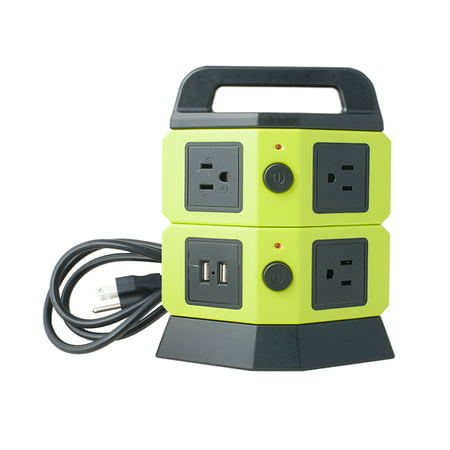 Power Socket Outlet - AC 110V-250V 5 Socket 2 USB Ports Power Outlet Vertical Multi-Socket