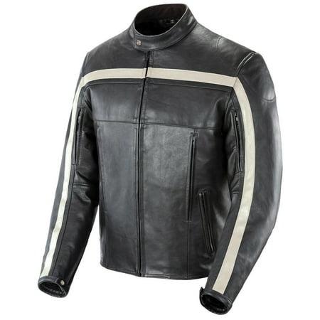 Joe Rocket Old School Classic Leather Jacket - Black/Black/Ivory - Large Joe Rocket Racing Leathers