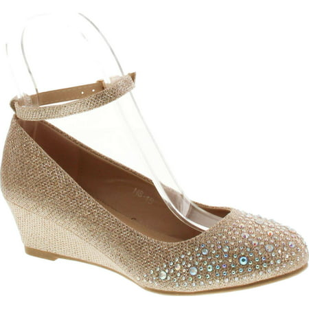 Moda Shoes Com (Top Moda Women's wedge glitter rhinestone round toe adjustable ankle strap shoes )