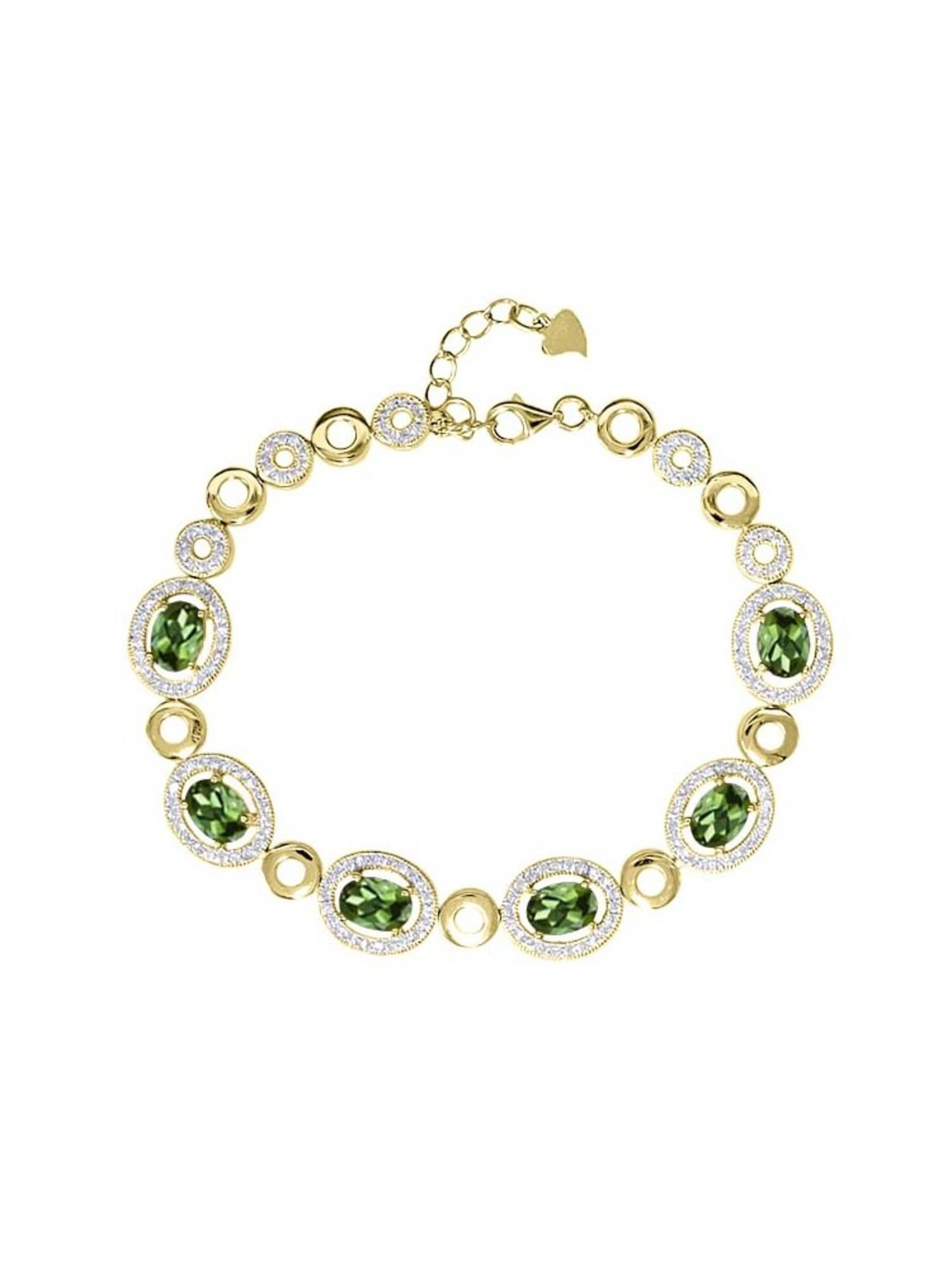 7.02 Ct Oval Green Tourmaline 18K Yellow Gold Plated Silver Bracelet by