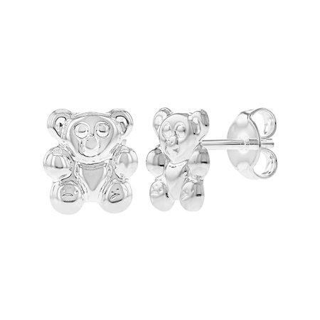 Silver Plated Teddy - Silver Plated Tiny Teddy Bear Post Stud Girls Teens Earrings