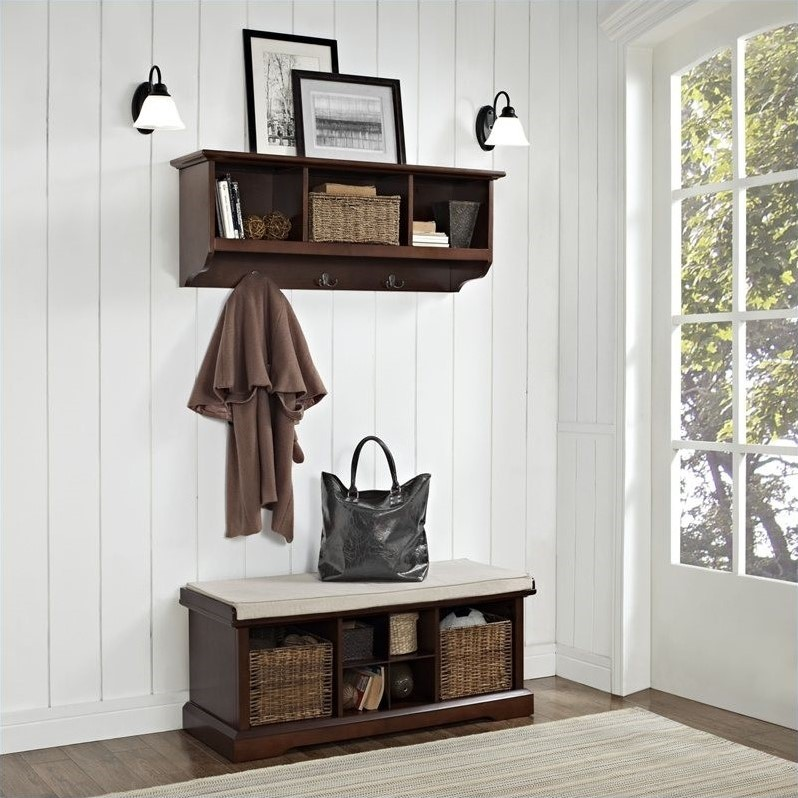 Crosley Brennan 2 Piece Entryway Bench And Shelf Set In Mahogany