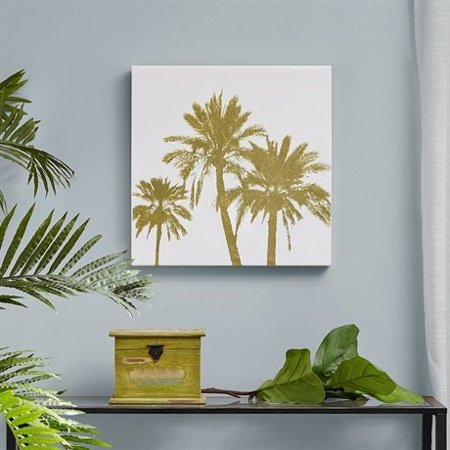 Intelligent Design Gold Palms Gold Foil Embellished Canvas Gold 20x20x15