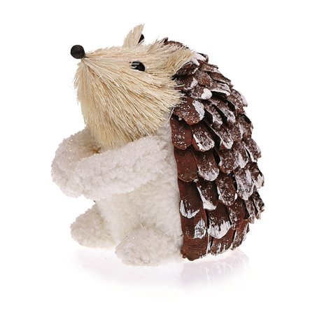 Pack of 2 Country Rustic Sigmund the Hedgehog Snowy Pine Cone Christmas Table Top Decorations 5