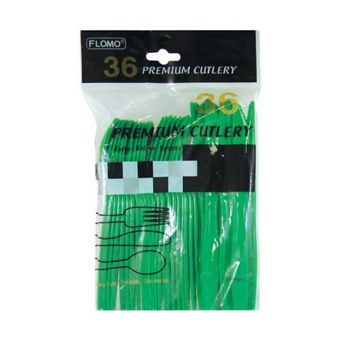 Holiday Green Premium Cutlery - 36 count Case Pack 36