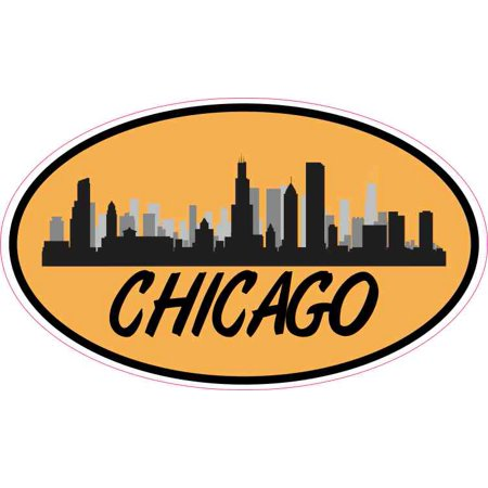 Chicago Truck Harness - 5in x 3in Orange Oval Chicago Skyline Sticker Car Truck Vehicle Bumper Decal