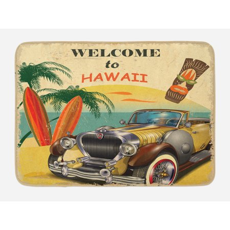 Retro Bath Mat, Welcome to Hawaii American Pop Art Print with Aged Car Palms Tribal Mask and Surfboards, Non-Slip Plush Mat Bathroom Kitchen Laundry Room Decor, 29.5 X 17.5 Inches, -