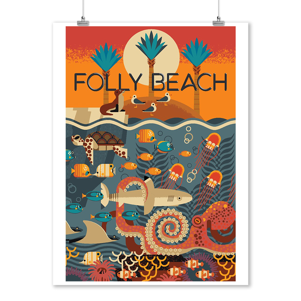 South Carolina - Folly Beach - Textured Geometric - Lantern Press Artwork (9x12 Art Print, Wall Decor Travel Poster)