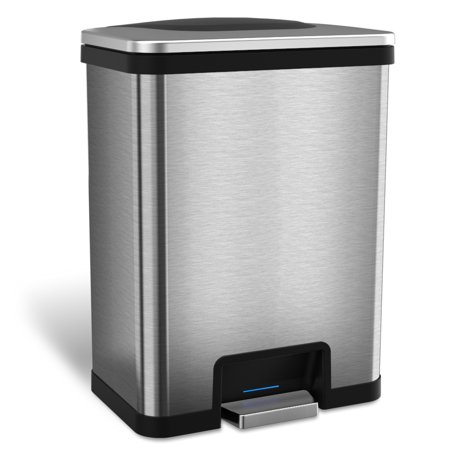 iTouchless AutoStep 13 Gallon Stainless Steel Automatic Step Trash Can with Odor Control System