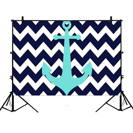 GCKG 7x5ft Navy Blue Chevron with Nautical Anchor Polyester Photography Backdrop Studio Photo Props Background