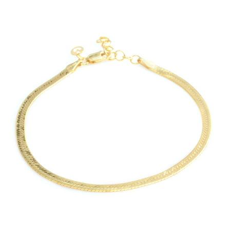 "925 Sterling Silver 14K Yellow Gold Plated Herringbone Bracelet for Women Jewelry Gift 7.75-8.75"" 3.40 g"