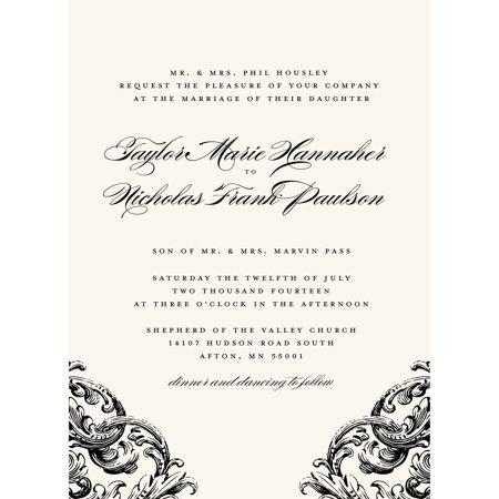Romantic Scroll Standard Wedding Invitation](Black And Gold Invitations)