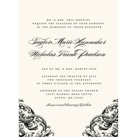 Romantic Scroll Standard Wedding Invitation (Wedding Scroll)