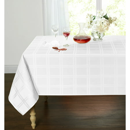 Spill Proof/Stain Resistant Plaid Tartan Fabric Tablecloth (60 in. W x 120 in. L, White) - Tartan Tablecloth
